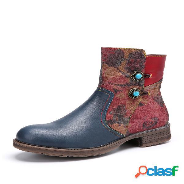 Socofy retro floral relieve empalme de cuero punta redonda cremallera lateral tobillo botas