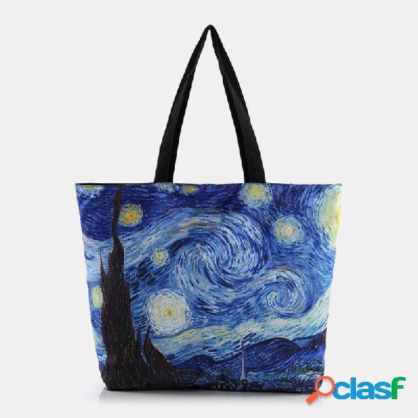 Mujer estampado abstracto patrón canvas casual shopping bolsa hombro bolsa tote