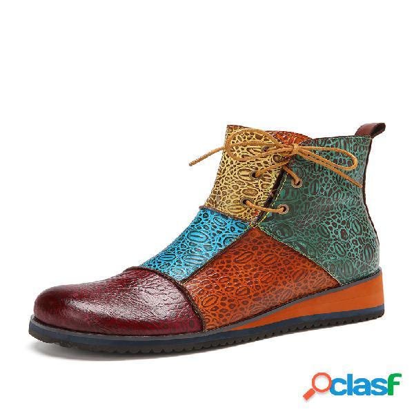 Socofy empalme coloblock retro leather comfy slip rsistant cremallera lateral tobillo plano botas