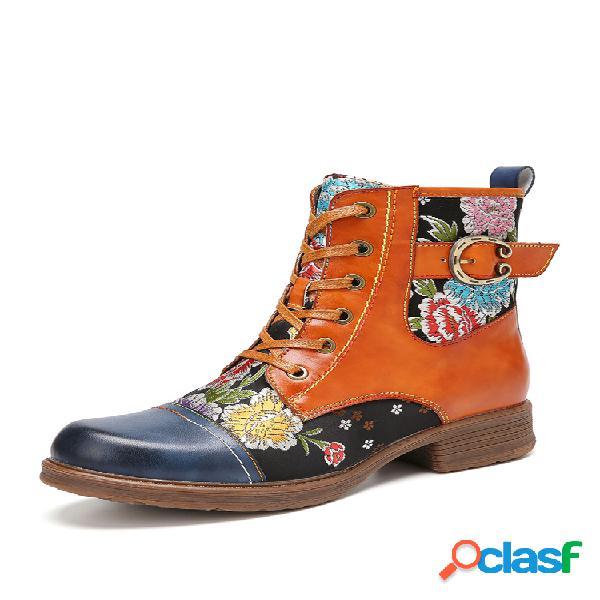 Socofy flores bordado piel genuina empalme cómodo tobillo con cremallera de punta redonda botas