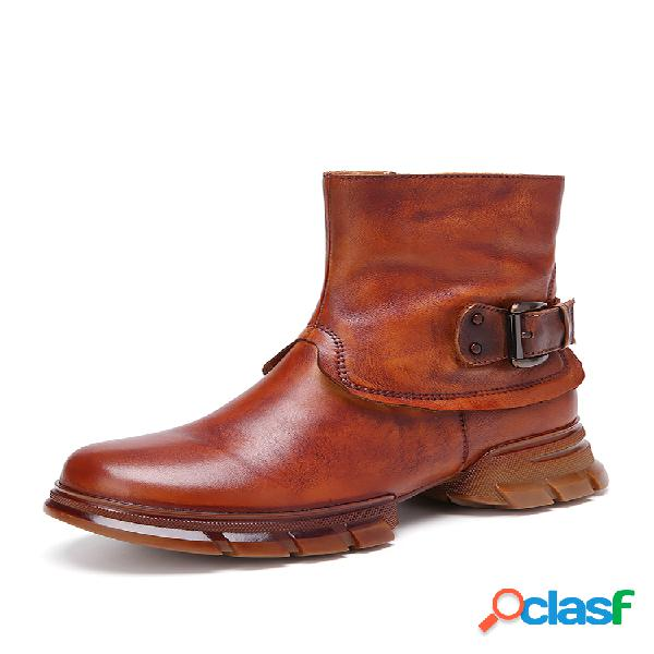 Socofy retro color sólido comfy piel genuina pantalón corto con cremallera lateral portátil botas