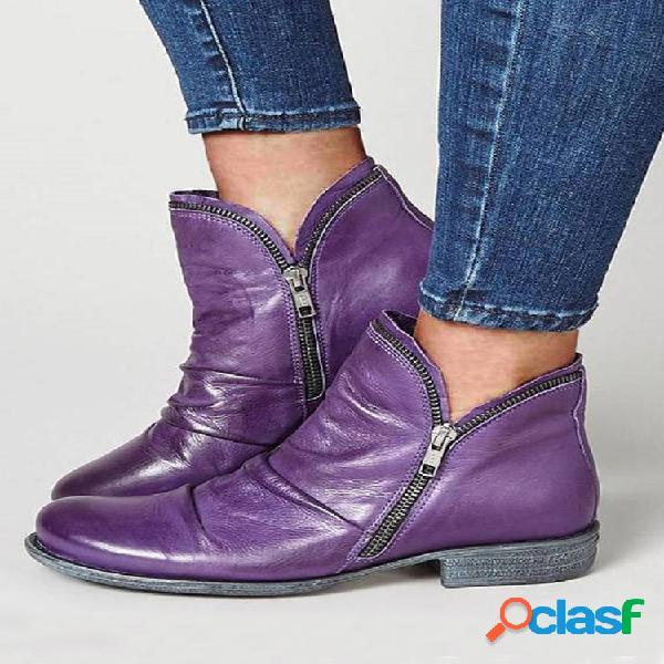 Tobillo plano informal con cremallera lateral de color liso de gran tamaño para mujer botas