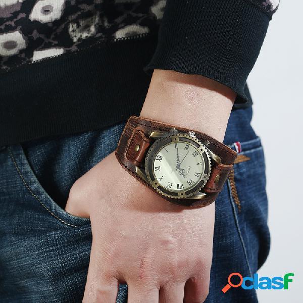 Vendimia reloj de pulsera de cuero de vaca correa ajustable números romanos reloj de cuarzo para hombres