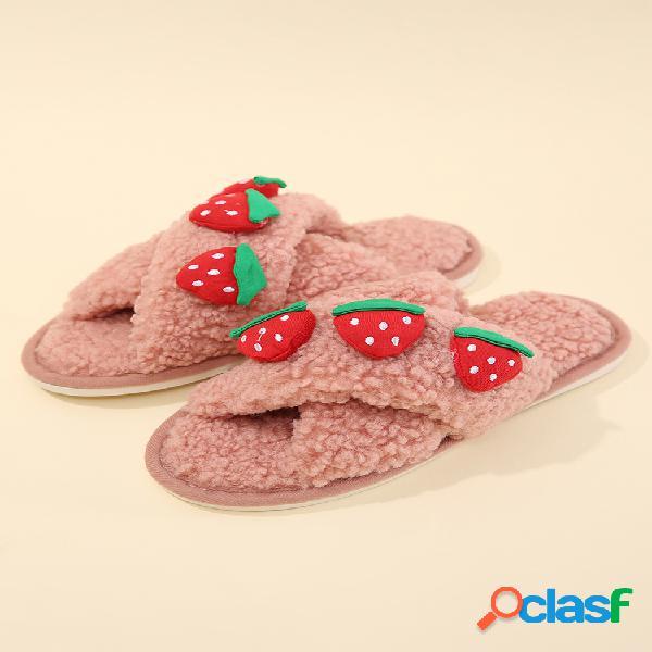 Mujer cute fruit patrón algodón de felpa casero forrado calentado zapatillas