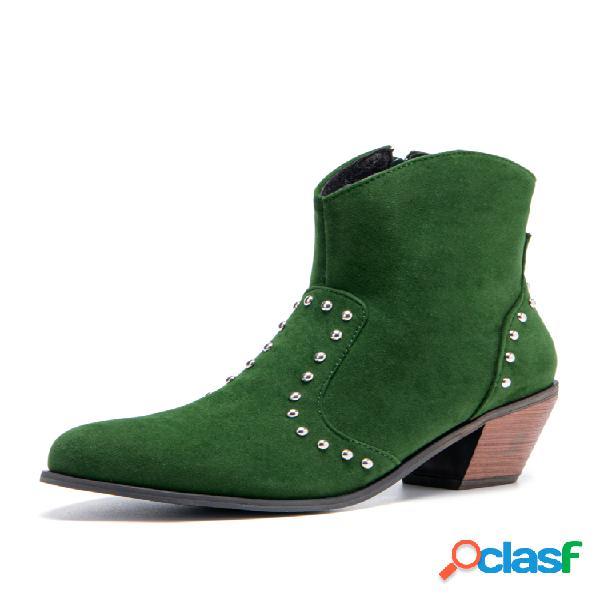 Plus talla mujer ante remache cremallera lateral tacón grueso tobillo vaquero botas