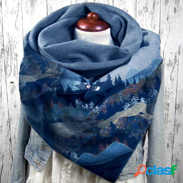 Mujer estampado de montaña en las copas de los árboles patrón soft personalidad cuello protección bufanda para mantener el calor
