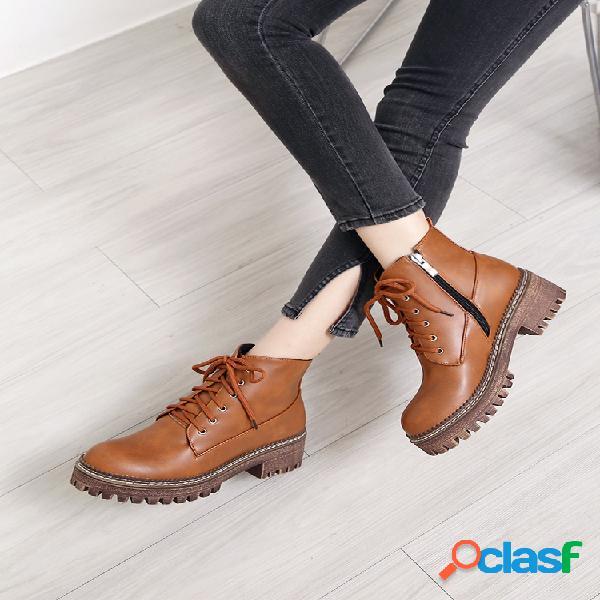 Plus talla mujer forro cálido cremallera lateral plataforma combat botas