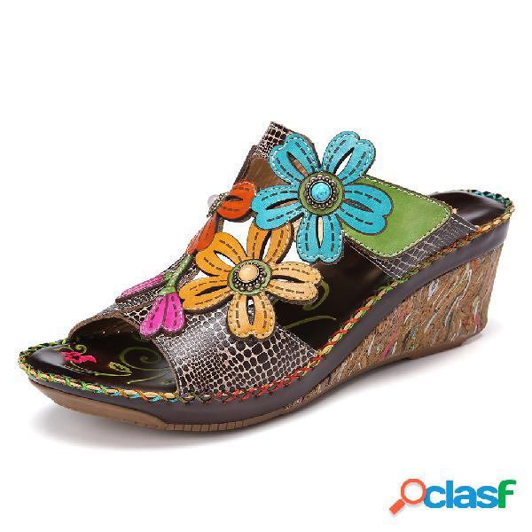 Socofy retro flower decro cuenta recorte colorful costuras correa ajustable slip on punta abierta casual wedge sandalias