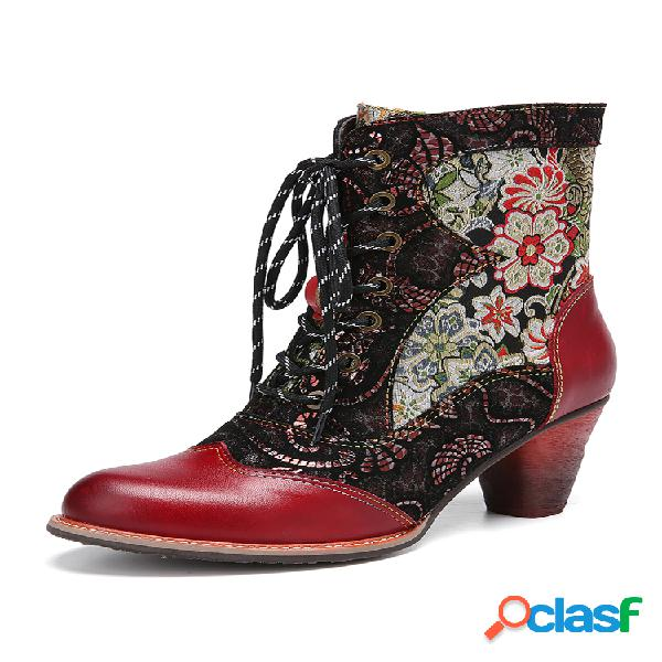Socofy corto con cremallera de tamaño antideslizante cómodo con cordones de empalme de cuero con bordado floral retro botas