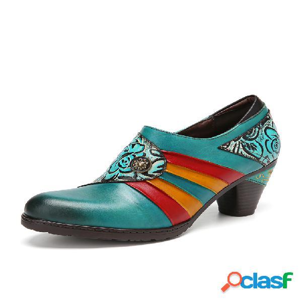Socofy estampado floral en bloques de color piel genuina empalme zapatos de tacones con cremallera lateral usable