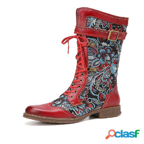Socofy retro floral comfy piel genuina cremallera lateral antideslizante a media pantorrilla botas