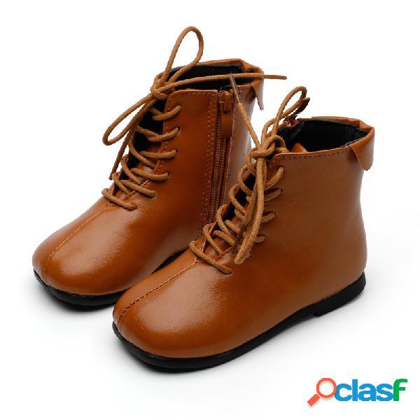 Unisex niños color sólido punta redonda con cordones soft suela cremallera lateral elegante casual corto botas