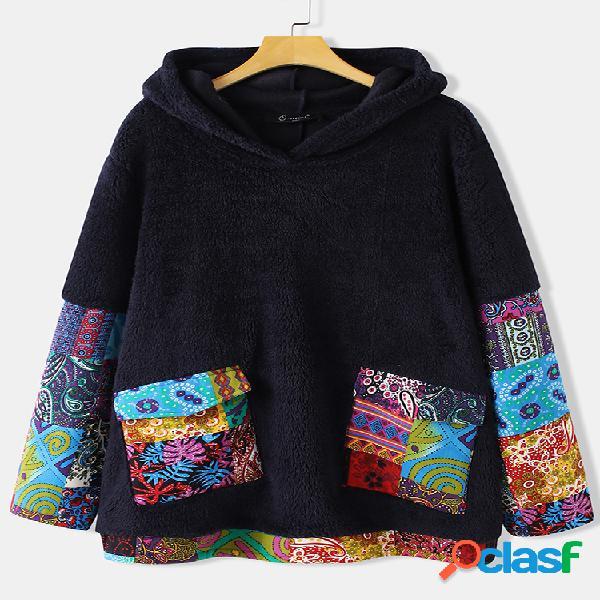 Vendimia patchwork con estampado étnico plus talla capucha con bolsillos