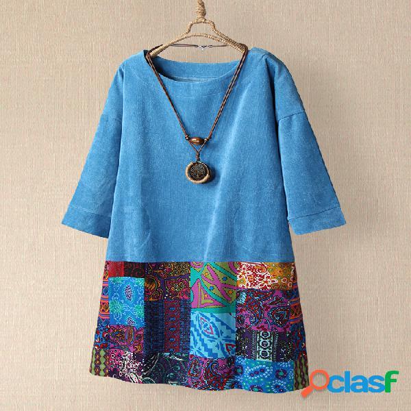 Vendimia patchwork con estampado étnico plus talla pana vestido