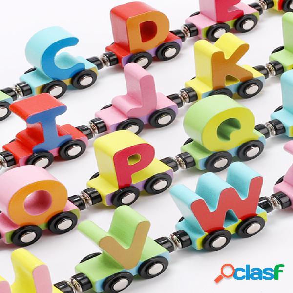 Magnético vibrante coche 0-3 años saber letras digitales bloques de construcción remolque de juguete educación temprana juguetes educativos para niños