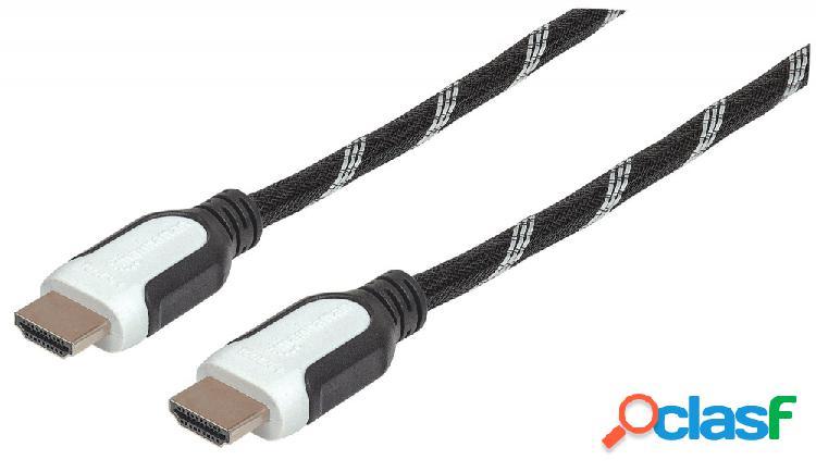 Manhattan cable hdmi macho - hdmi macho, 3 metros, negro/blanco