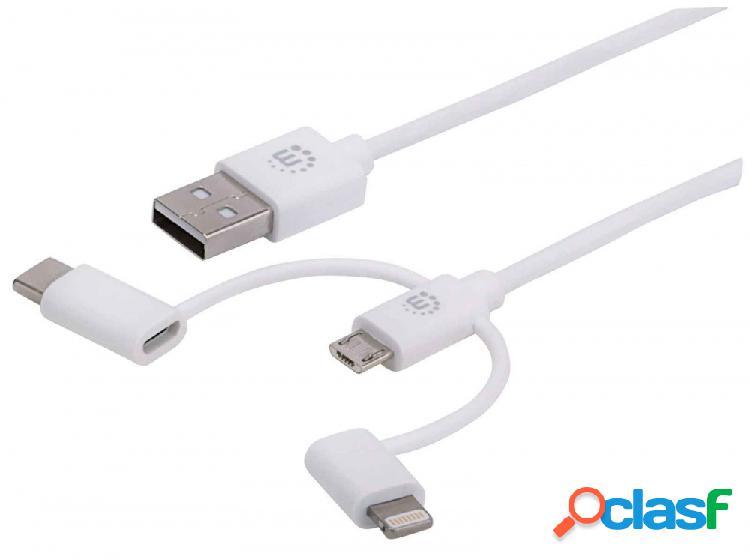 Manhattan cable usb a - micro usb b/usb c/lightning macho, 1 metro, blanco