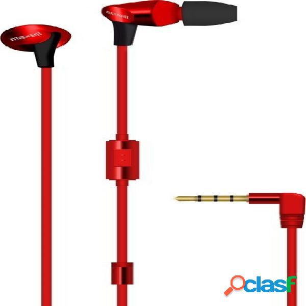 Maxell audífonos intrauriculares con micrófono fusion, alámbrico, 3.5mm, rojo