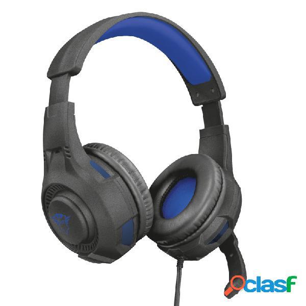 Trust audífonos gamer gxt 307b ravu para ps4/ps5, alámbrico, 1 metro, 3.5mm, negro/azul
