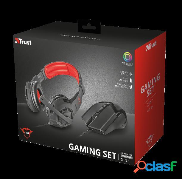 Trust kit de audífonos gamer gxt 784, alámbrico, 1 metro, 3.5mm, negro/rojo - incluye mouse