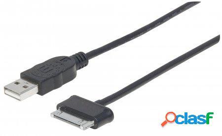 Manhattan cable usb a macho - samsung 30pin macho, 1metro, negro