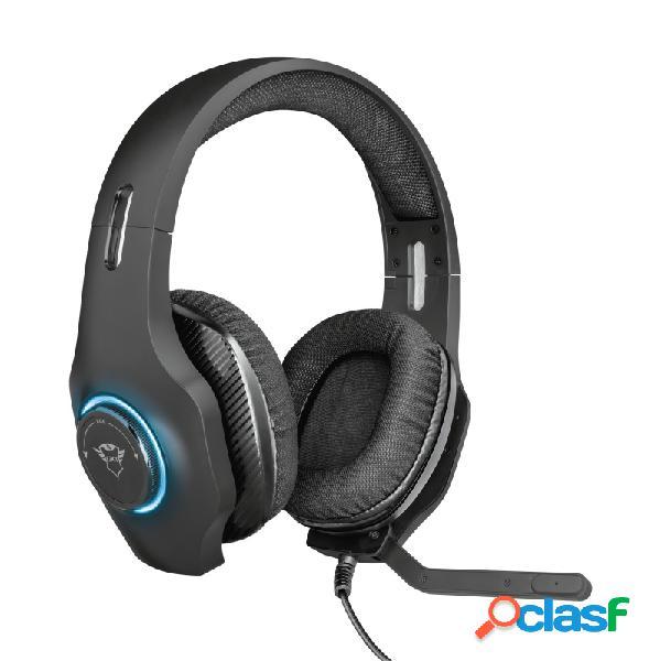 Trust audífonos gamer gxt 455 torus rgb para pc, alámbrico, 2.2 metros, 3.5mm/usb, negro