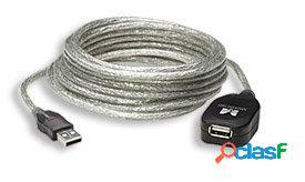Manhattan cable usb macho - usb hembra, 5 metros, plata