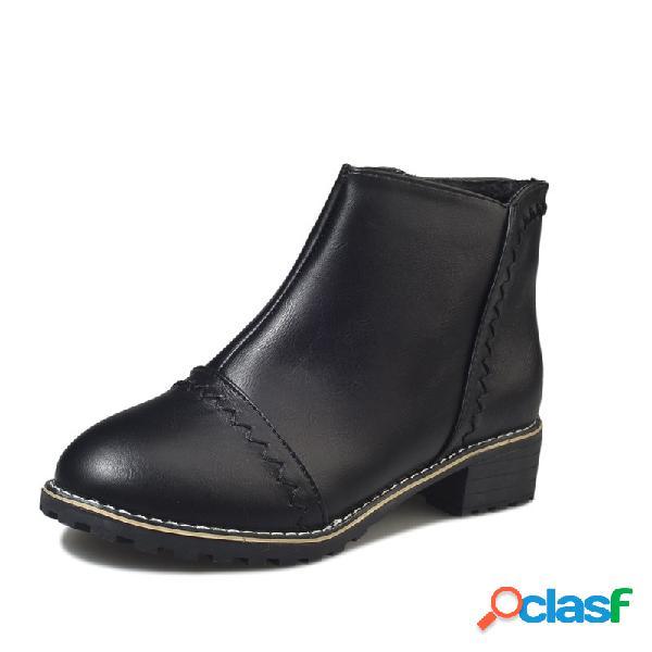 Botas de tacón grueso con diseño de cremallera lateral negro