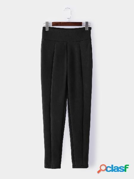 Pantalones pitillo de ante de talle alto con cremallera lateral negra