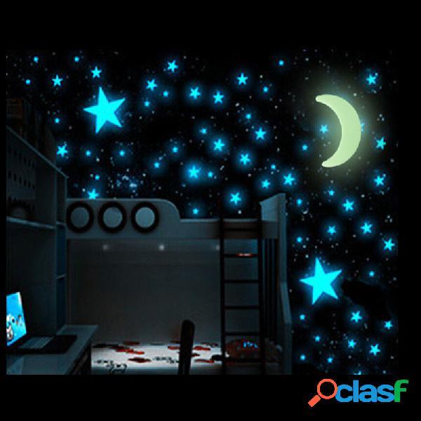 100 piezas que brillan en la oscuridad estrellas pegatina hermosa 3d diy calcomanía para el hogar arte pegatinas de pared luminosas