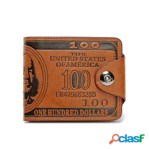 Pu cuero billetero portátil de 9 ranuras de tarjeta para mujeres y hombres bolso unisexo