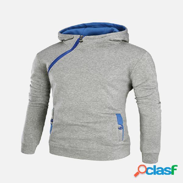 Sudadera con capucha casual deportiva gruesa con cremallera lateral de color sólido para hombres