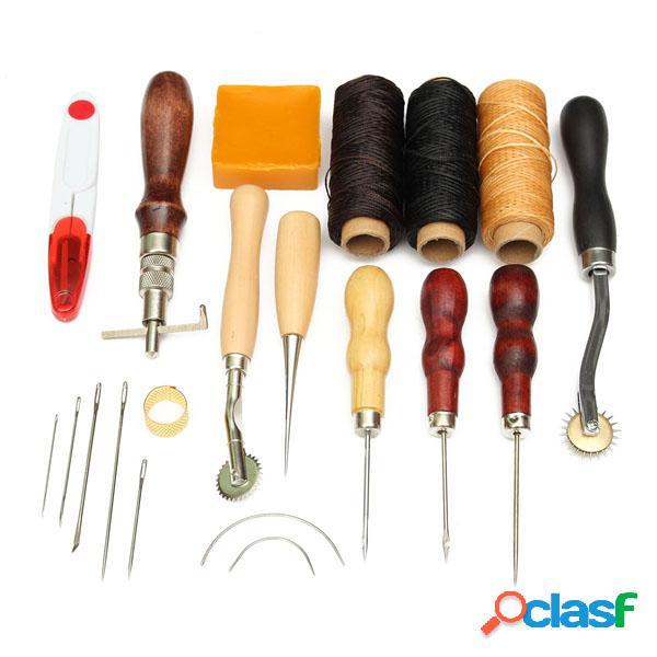 14pcs mango de madera artesanía en cuero herramienta kit cuero cosido a mano herramienta cortador de punzón diy juego