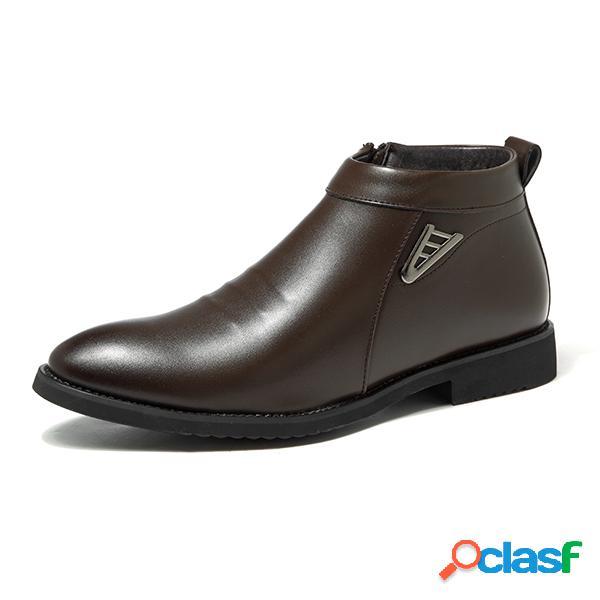 Botas casuales forradas de peluche de puntera afilada con cremallera lateral para hombres