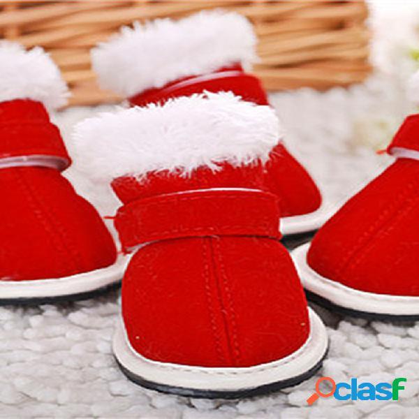 Navidad perro rojo botas invierno cálido felpa zapatos para mascotas correa ajustable cachorros antideslizantes botas