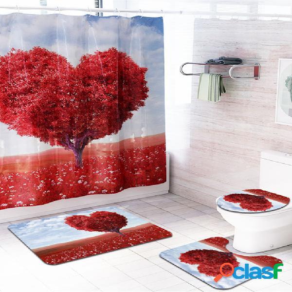 Heart tree impermeable cuarto de baño panel de cortina de ducha tapete para piso cubierta de asiento de inodoro