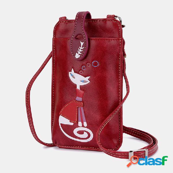 Mujer crossbody bolsa cute gato patrón handbag phone bolsa