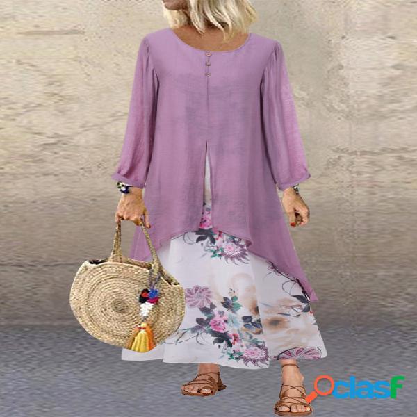 Patchwork estampado floral vendimia plus talla vestido