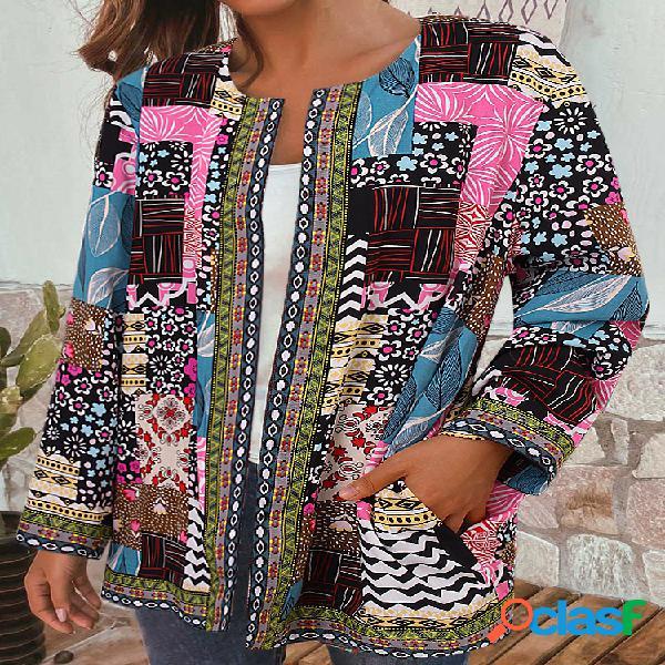 Vendimia patchwork con estampado de cinchas étnicas plus tallas chaquetas