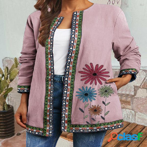 Vendimia patchwork de correas con estampado de flores plus talla chaquetas