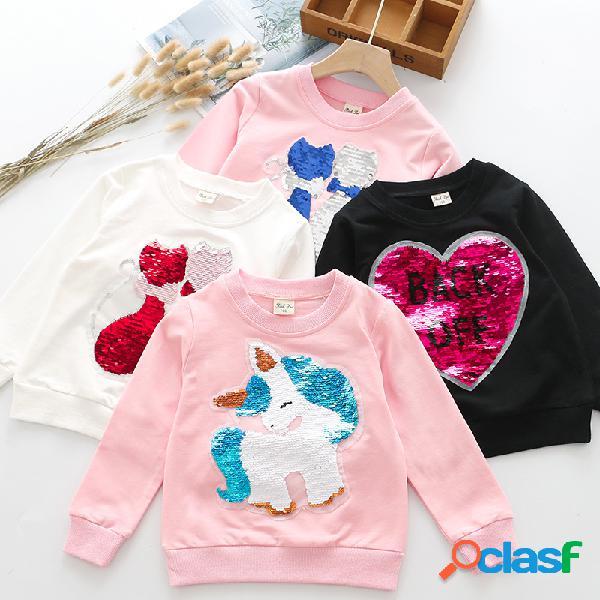 Suéter de otoño para niñas lentejuelas con cabeza sudaderas con capucha superiores