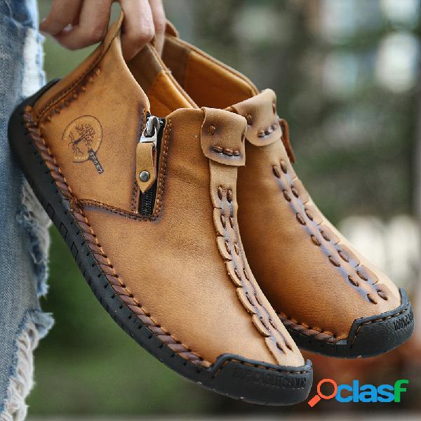 Hombres costura a mano cuero cremallera lateral antideslizante casual botas