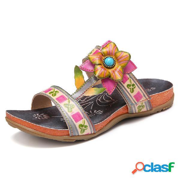 Socofy diapositivas antideslizantes con correa ajustable de cuero hecho a mano con diseño floral sandalias