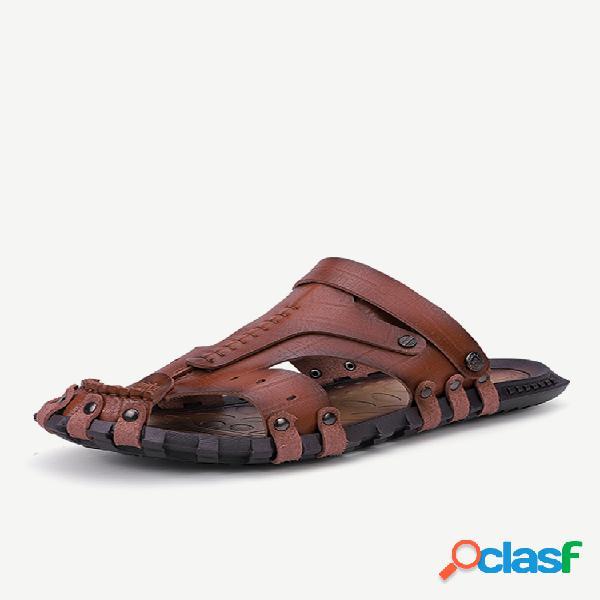 Hombre cuero de microfibra antideslizante metal ajustable correa de talón casual sandalias