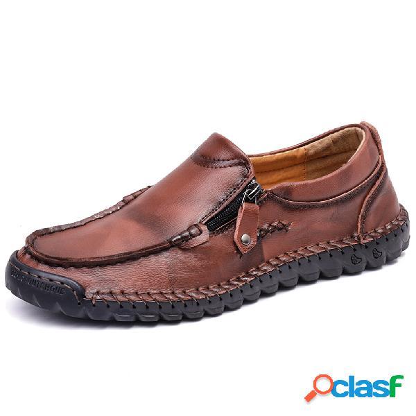 Menico hombres costura a mano cremallera lateral antideslizante zapatos de cuero ocasionales