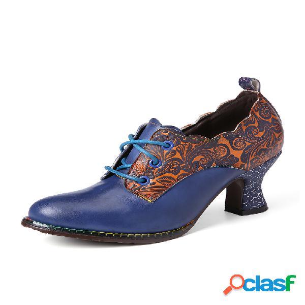 Socofy vendimia cuero costuras florales cordones cremallera lateral tacón grueso zapatos