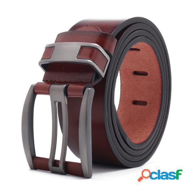 108cm de cuero de aleación de hebilla de cuero cinturón liso ajustable de cuero sintético cinturón para hombres