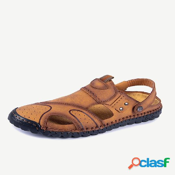 Hombre cuero de microfibra cosido a mano antideslizante soft suela casual sandalias
