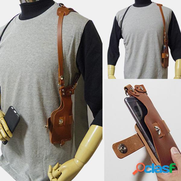Hombre 6,3 inch soporte para teléfono pu antirrobo cintura cinturón bolsa hombro bolsa