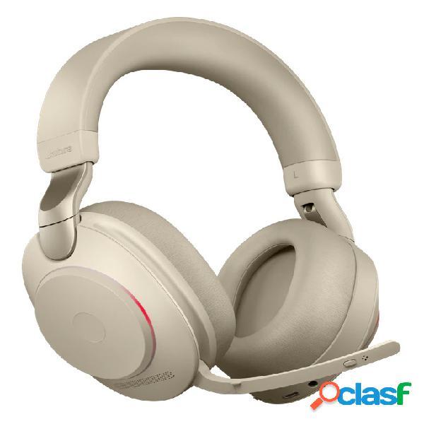 Jabra audífonos evolve2 85 uc stereo, inalámbrico, bluetooth, usb, beige